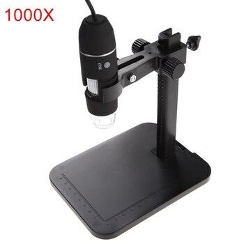 500/800/1000x8 led usb 디지털 현미경 내시경 도구 2mp 전기 현미경 돋보기 브래킷 홀더와 줌 카메라