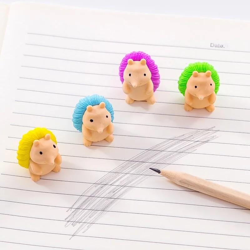 4 Pcs/lot Cute Hedgehog Shape Eraser Cartoon Animals Rubber Eraser Kawaii Stationery School Supplies Papelaria Kids Gifts