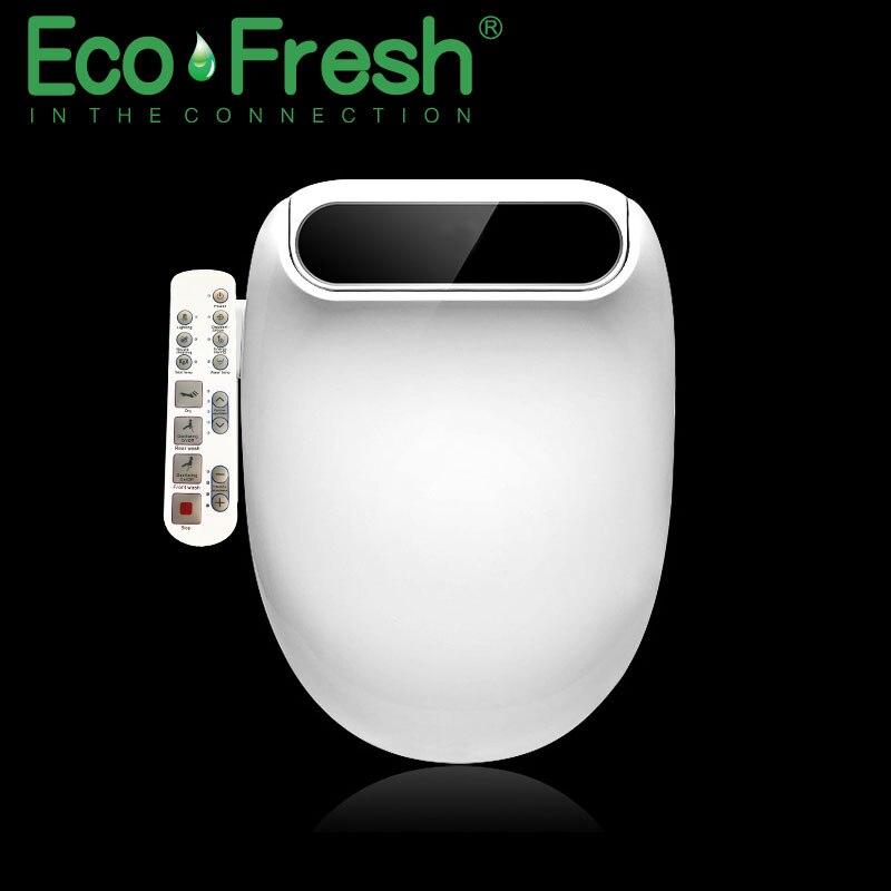 Ecofresh Smart toilet seat Elongate Electric Bidet cover heat led light wash dry massage man woman child oldman