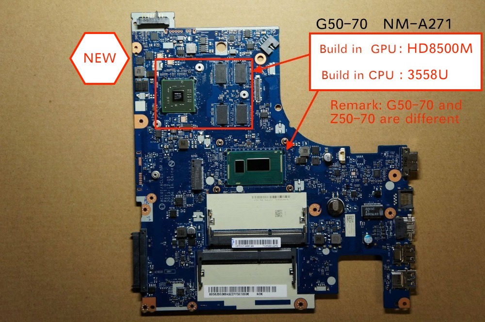 New For Lenovo G50-70 ACLU1 ACLU2 NM-A271 Laptop PC Motherboard With 3558 Cpu HD8500M 2GB
