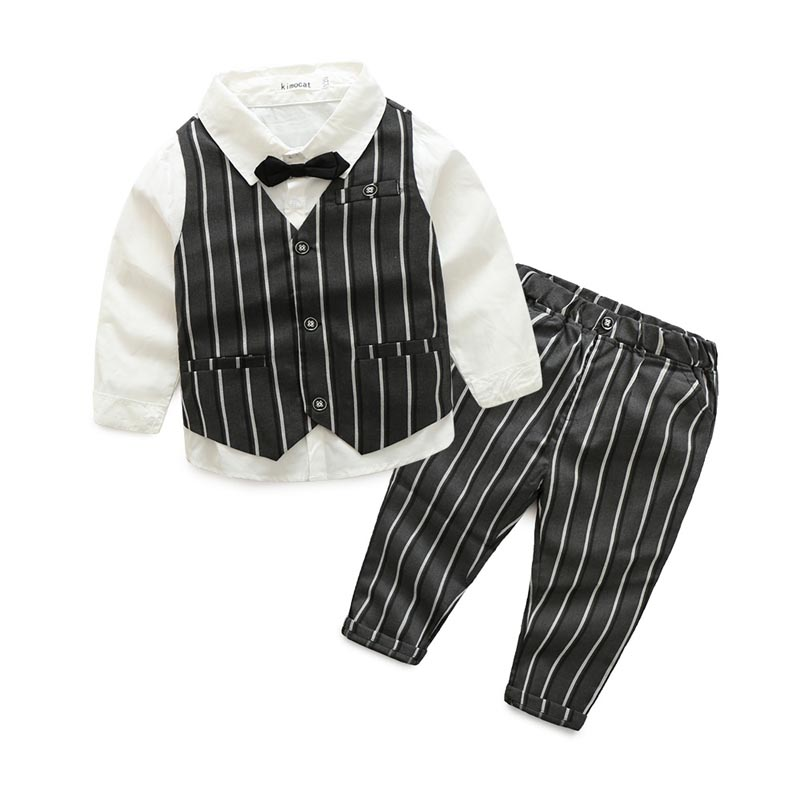 Autumn Baby Boys Clothes Sets Infant Cotton Suits Gentleman Stripe Vest T Shirt+Long Sleeves + Shorts Kids Children Suits