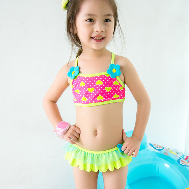 c928b38c16 1-6Y Baby Toddler Girls Swimsuits Floral Two Pieces Siwmwear Polyester Girl  Bikini Set Kids