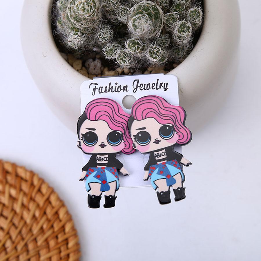Мода для девочек, яркие цвета, серьги со шпилькой, для Для женщин с нарисованной девочкой, серьги милые аниме-серьги романтическая девушка ушные украшения, аксессуары - Окраска металла: B17-55