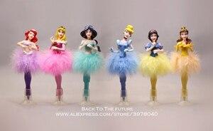 Image 2 - Disney Juego de 6 unidades de bolígrafo Blancanieves de la princesa Cenicienta, figura de acción de decoración, colección de PVC, modelo regalo