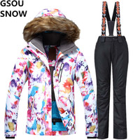 GSOU SNOW Brand Ski Suit Female Winter Mountain Skiing Suit 2017 Waterproof Outdoor Snow Snowboarding Suits