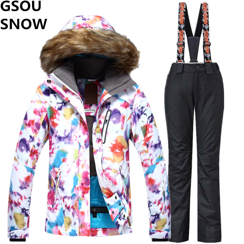 GSOU SNOW Brand Ski Suit Female Winter Mountain Skiing Suit 2017 Waterproof Outdoor Snow Snowboarding Suits Fur Collar Jacket gsou snow brand waterproof ski suit