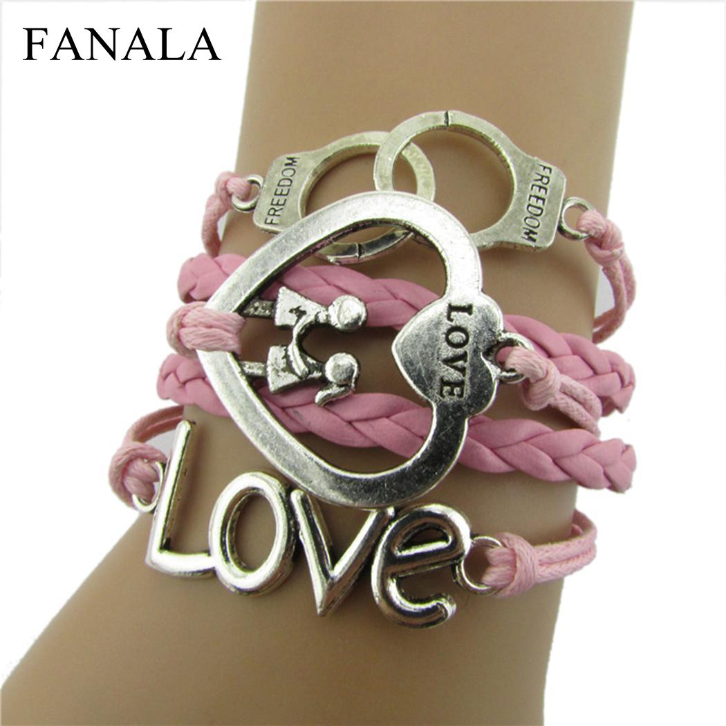 FANALA Bracelets Women Casual Rope Braided Layered Heart Woven Vintage Style Handcuffs Bracelet Women