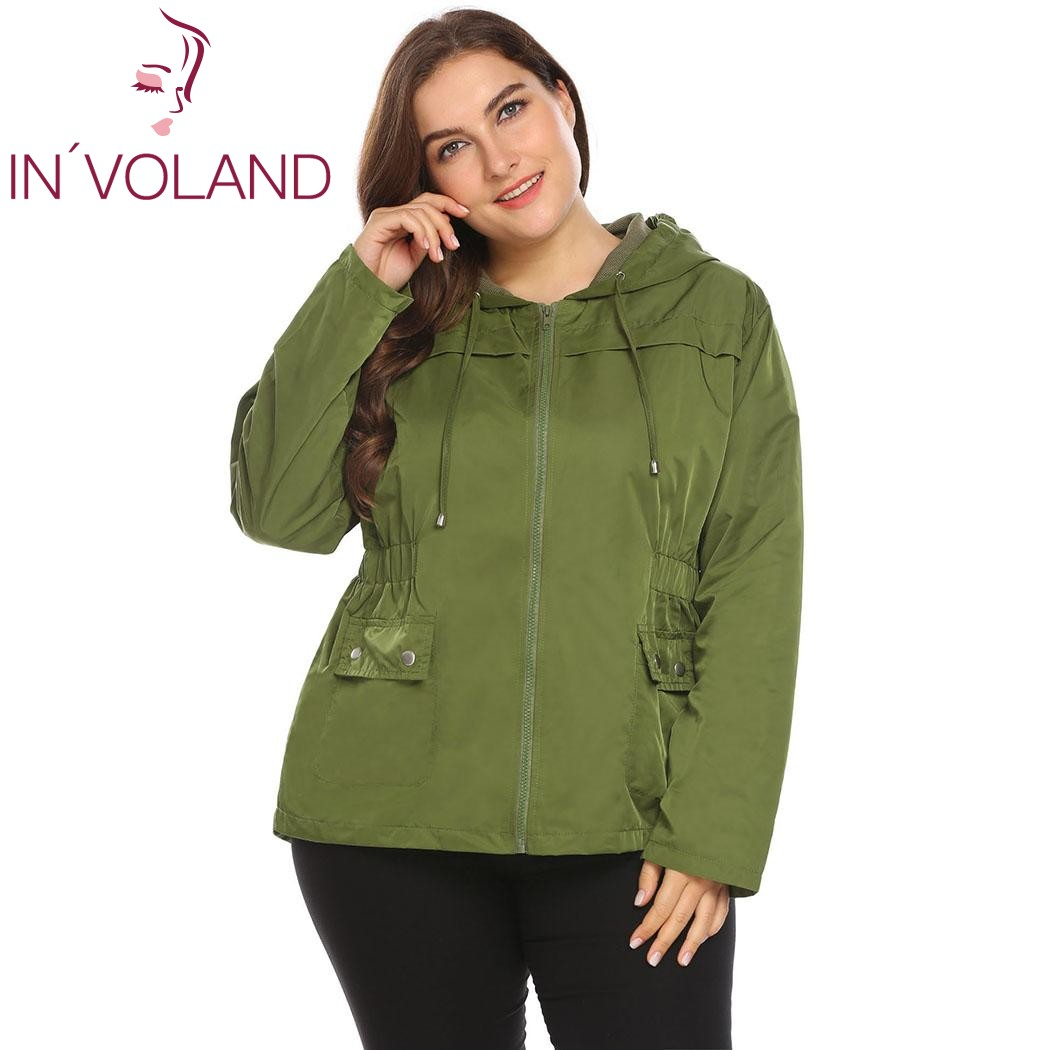 IN'VOLAND Large Size XL-4XL Women Lightweight Jacket Hooded Full Zip Raincoat Loose Solid Casual Waterproof Big Coat Plus Size