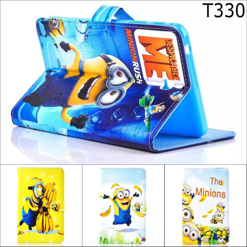 Fashion Cartoon New Despicable Me Minions Character Leather Stand Case smart Cover For Samsung Galaxy Tab 4 8.0 T330 T331 T335