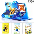 Moda Dos Desenhos Animados New Despicable Me Minions Couro Character Stand Case smart cover para samsung galaxy tab 4 8.0 t330 t331 T335
