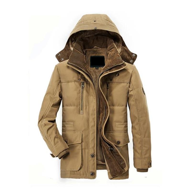 2017 Hot winter men's cotton jacket thick warm jacket Plus velvet Long section casual hood men 's coat warm Overcoat Windbreaker