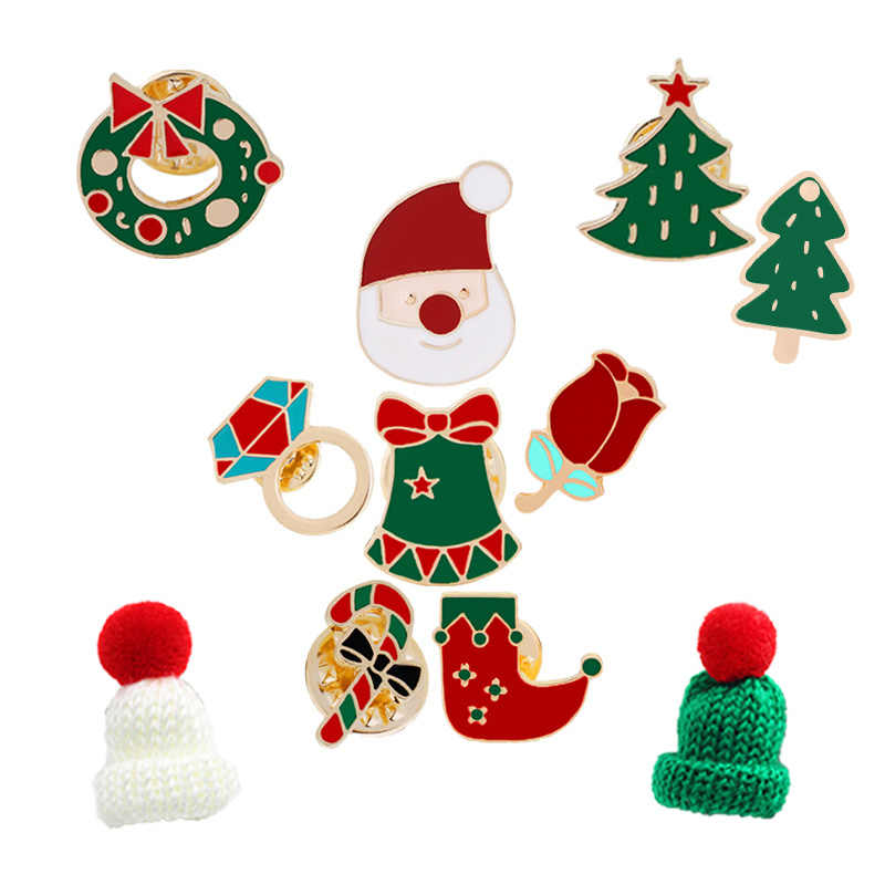 428a8a93222b3 11 Style Enamel Pins Christmas Hats Brooches For Children Xmas Tree Socks  Wreath Cane Santa Claus