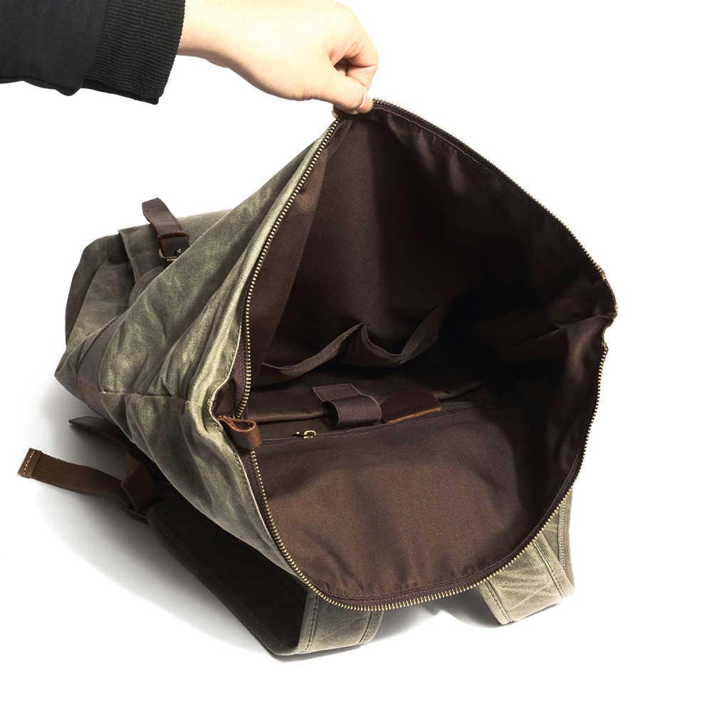 Для мужчин рюкзаки Винтаж холст кожаный рюкзак для ноутбука для Для мужчин школьная сумка Mochila большой Ёмкость Водонепроницаемый дорожная сумка рюкзак