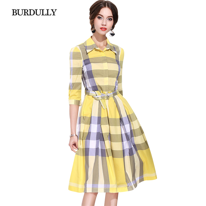 BURDULLY Big Size Dresses Red And Black Vintage Plaid Dress Long Women Casual Loose Patchwork Dress
