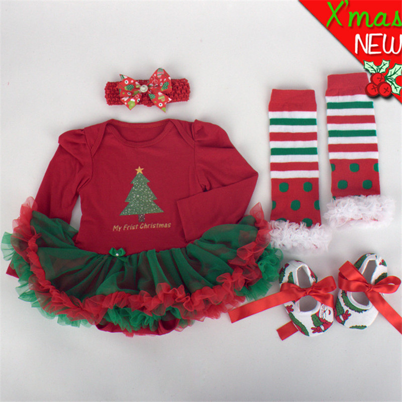 Newborn Baby Clothes Christmas Infant Jumpsuit 4pcs Clothes Set Xmas Baby Girl Clothing Suit Mix Color Toddler Romper Tutu Dress new baby girl clothing sets lace tutu romper dress jumpersuit headband 2pcs set bebes infant 1st birthday superman costumes 0 2t