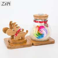 Zipi Home Decoration Valentine S Day Gift Deer Wish Bottle Preserved Fresh Flower Remote Control LED