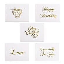 48 шт мини-открытка с золотым тиснением, открытка на день Святого Валентина с днем рождения, Рождественская вечеринка, свадебные приглашения, поздравительные открытки