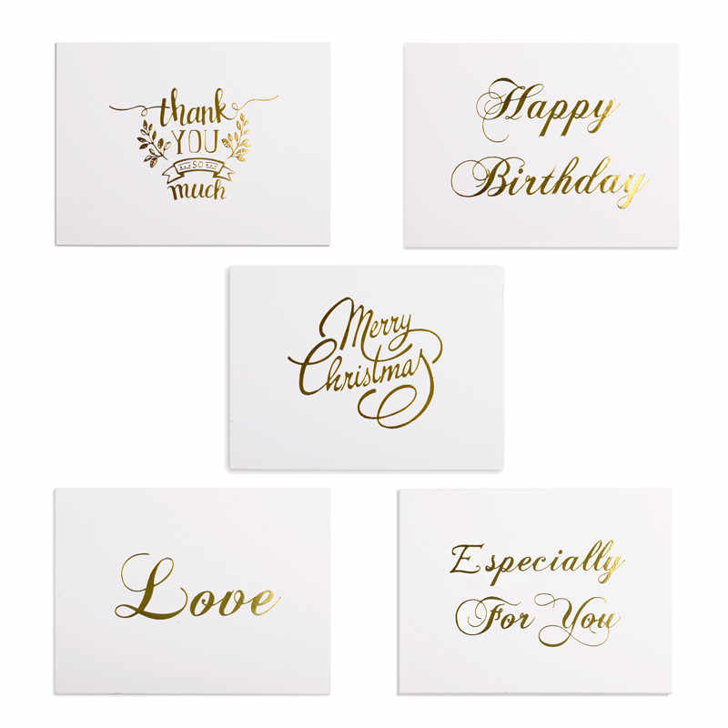 48pcs Mini Gold Embossed Thank You Card Valentine Happy Birthday Christmas Party Wedding Invitation Letter Greeting