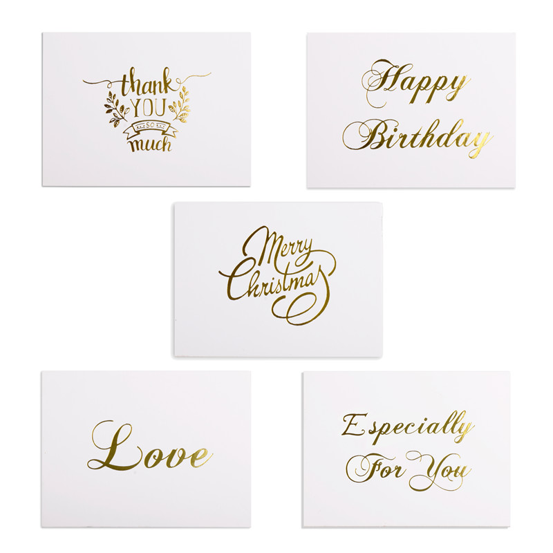 Accepting Wedding Invitation Letter: 48pcs Mini Gold Embossed Thank You Card Valentine Happy