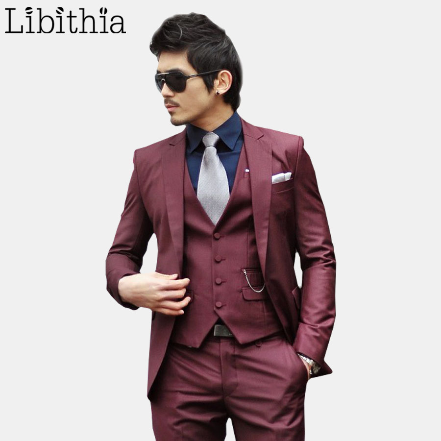 (Jacket+pant+tie) Mens Formal Wedding Suits Men Costume Homme Slim Fit One  Button Tuxedo Clothes Blazer Masculino Wine Red S313-in Suits from Men's  Clothing ...