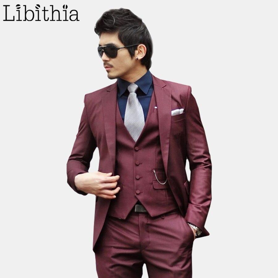 (jas + Broek + Tie) Mens Formele Suits Mannen Kostuum Homme Slim Fit Een Knop Smoking Kleding Blazer Masculino Wijnrood S313 Mooi En Charmant