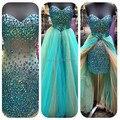 Duas Peças Prom Vestidos com Saia Destacável Vestidos de Noite de Cristal Azul Alto Baixo Vestidos de Festa Curtos 2017 Vestidos de renda