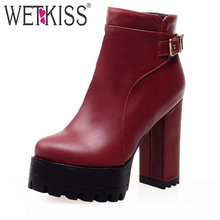 Plus Size 34-43 With Fur Fall Winter Boots Sexy High Heels Skid Proof Platform Shoes Woman 2017 Fashion Buckle Charm Ankle Boots