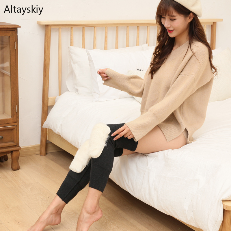 Knee Sleeve Women Plus Velvet Thicker Warm 2020 Womens Soft Comfortable Solid Simple Trendy High Quality Elasticity Flock Chic