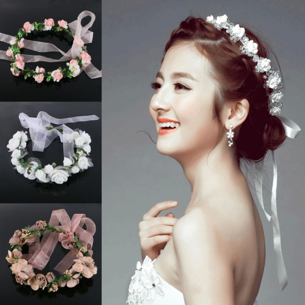 1pcslot white flower wreath crown wedding wreath bridal lace veil 1pcslot white flower wreath crown wedding wreath bridal lace veil headband hairband party accessories for women bride girl in artificial dried flowers izmirmasajfo