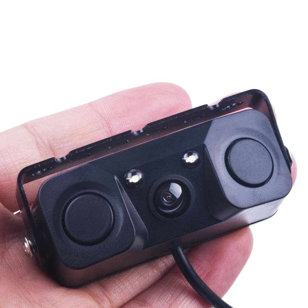 Prix pour 3 EN 1 Vidéo Capteur de Stationnement Inverse De Voiture De Sauvegarde Caméra de Recul avec 2 Radar Détecteur Capteurs BiBi Alarme Indicateur