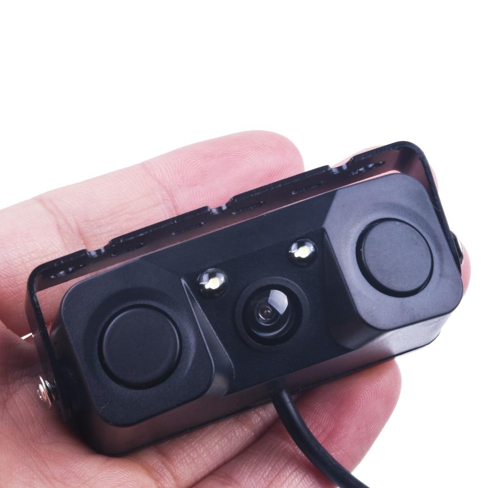 imágenes para 3 EN 1 Video Sensor de Aparcamiento Del Revés Del Coche Cámara de Visión Trasera de Copia de seguridad con 2 Sensores de Radar Detector Indicador De Alarma BiBi