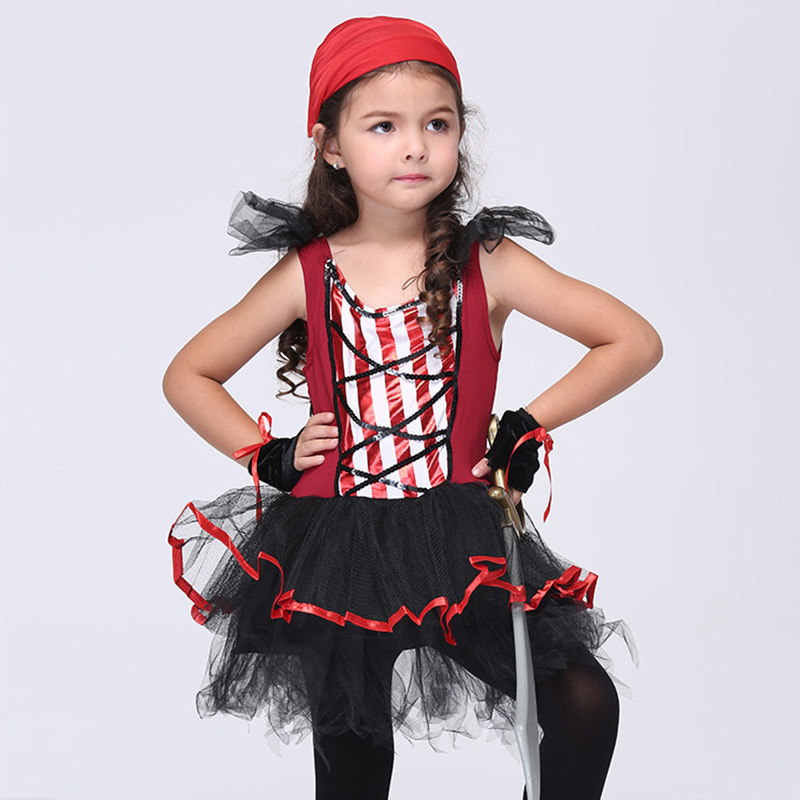 Halloween Cosplay Baby pirate scarf gloves dress 3pcs Children Set Infant Girls Clothes for Part Stage Performance Clothing аксессуары для косплея neko cosplay