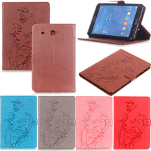 Tablet T560 Funda For Samsung Galaxy Tab E 9.6 Fashion Butterfly Emboss Leather Flip Wallet Case Cover Coque Shell Skin Stand blue butterfly style classic flip cover с функцией подставки и слотом для кредитных карт для samsung galaxy tab e t560