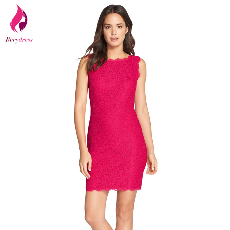 Vintage short cocktail bodycon party dress elegant women robe de soiree work office hot pink lace