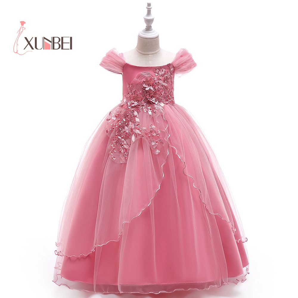 5533825fc7f Short Sleeves Princess Tulle Navy Blue Dusty Pink Flower Girl Dresses 2019  Beads Girls Pageant Dresses Dresses Party Gown