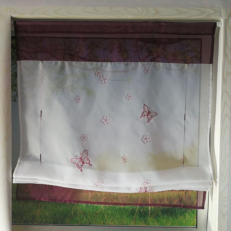 Kitchen Short Curtains Roman Blinds White Sheer Tulle: Embroidered Kitchen Curtain Short Roman Blinds Liftable