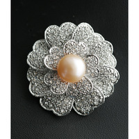 High Quality Clear Rhinestone Flower Brooch Girl Gift Freshwater Pearl Bridal Brooch Pin