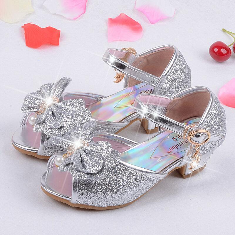 Qloblo Mulas Tamancos Sapatos Sandálias Princesa Verão Crianças das Crianças Meninas Sapatos De Casamento sapatos de Salto Alto Bowtie Couro Sapatas de Vestido