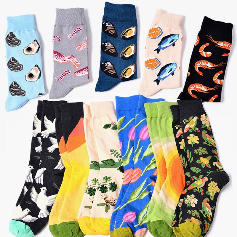 COCOTEKK Original 11 Colors Men's Fashion Dress Socks Cotton Colorful Wedding Mens Socks Novelty Plant Sea Animal Patterned Soks