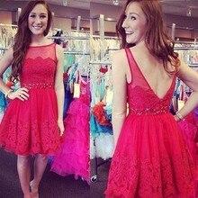 Reizvolle Rote Spitze Formales Abend-abschlussball-kleider 2016 Knielangen Frauen Dame Kleid vestidos Scoop Cocktailkleid Perlen Gürtel