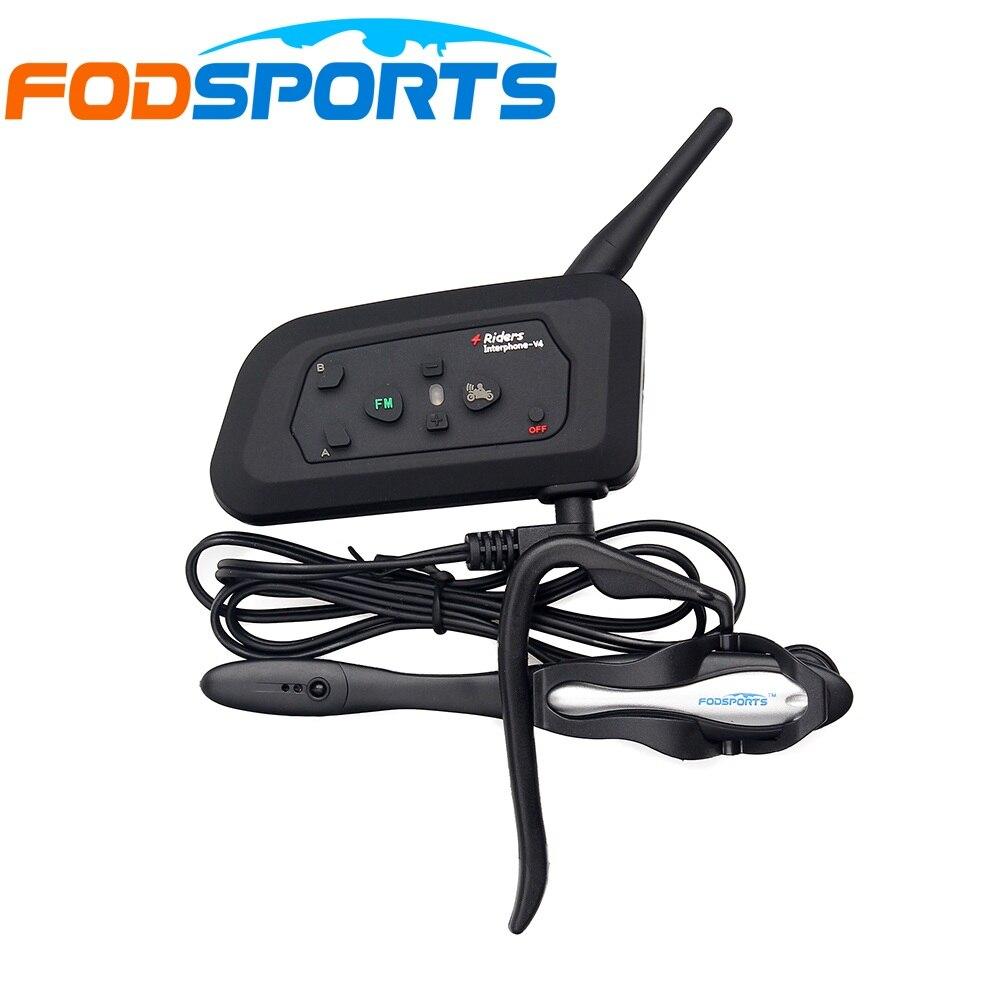 Fodsports Brand V4 1200M 4 Riders Talking Same Time For Football Referee Judge Earpiece Waterproof Bluetooth intercom Interphone
