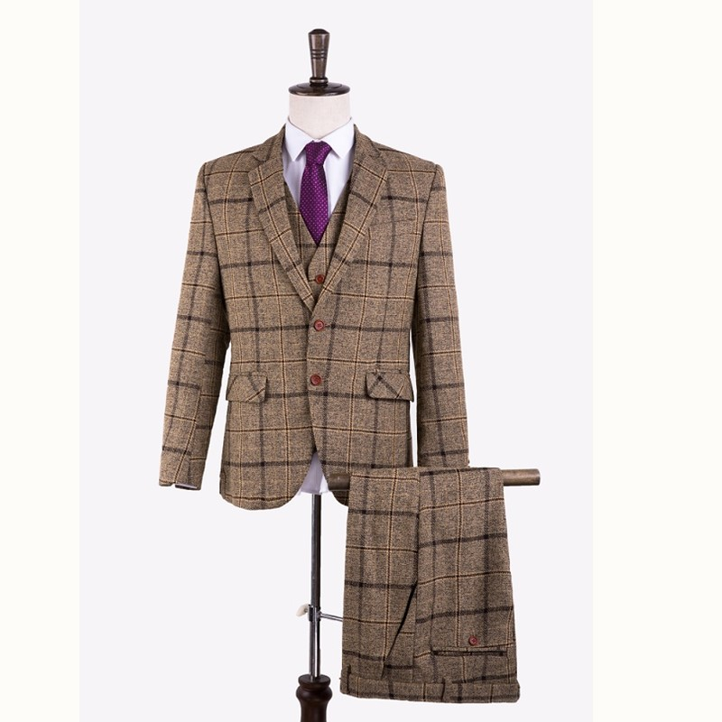Gwenhwyfar High Quality Plaid Men Suits Tailored Groom Wedding Tuxedos Formal Men's Wool Blend Suit Blazer (Jacket+Pants+Vest )