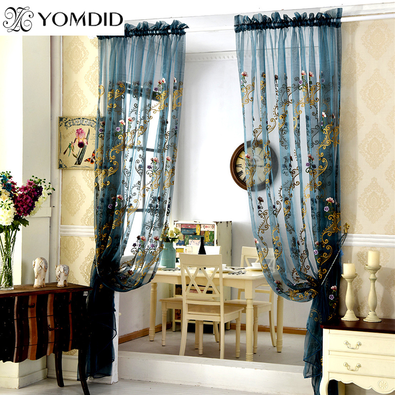 European style embroidery Curtains for the living room tulle curtain for bedroom kitchen window door roman luxurious cortina