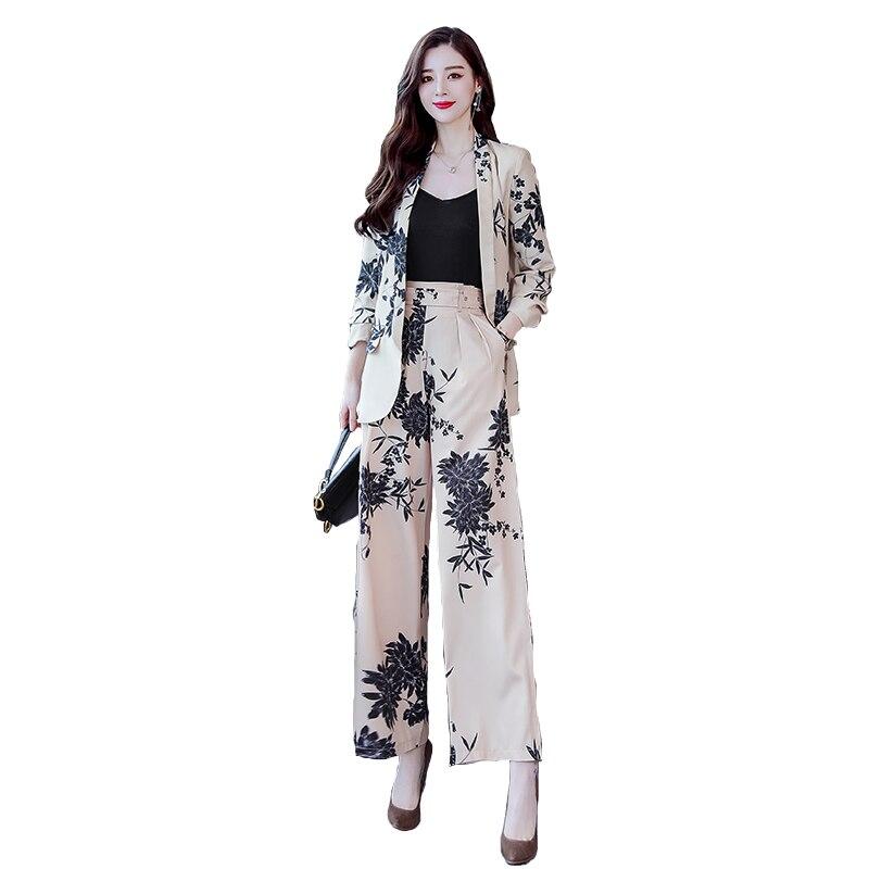 YASUGUOJI New 2019 Spring Fashion Floral Print Pants Suits Elegant Woman Wide-leg Trouser Suits Set 2 Pieces Pantsuit Women 5