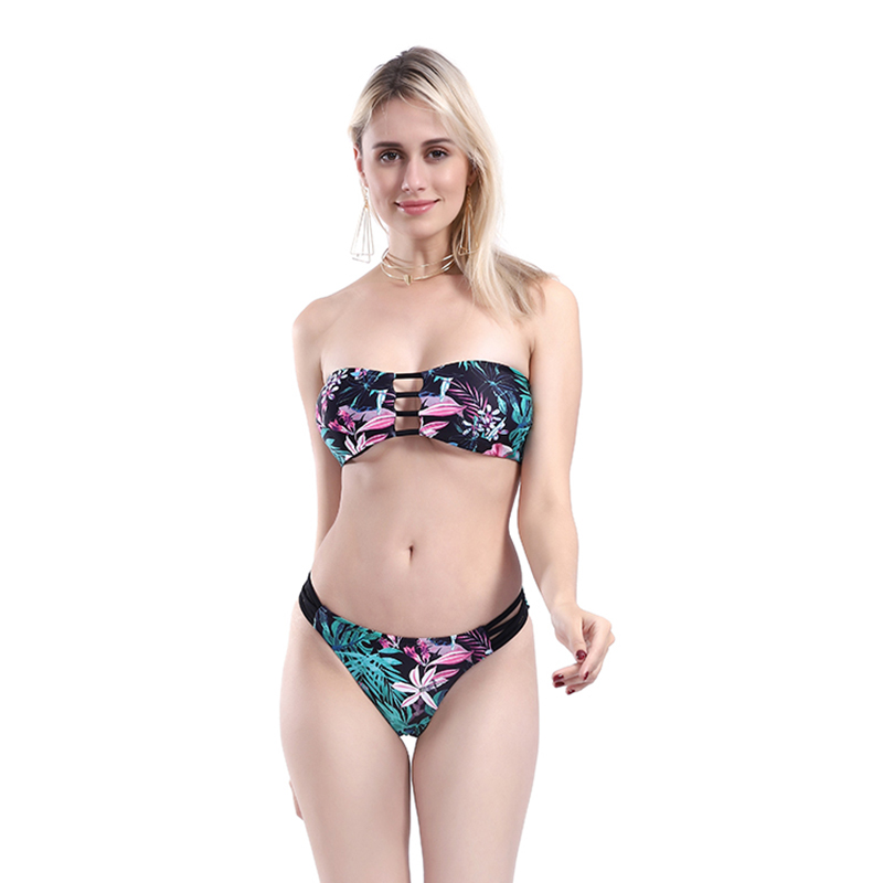 One Piece High Cut Bikini Sexy Off Shoulder Swimwear Women Push up Bra Swimsuit Floral Print Brazillian String Biquini Feminino