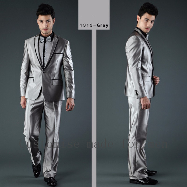 Jacket+Pant+Bow) Smoking Grey Mens Suits Wedding Groom Suit 2017 ...