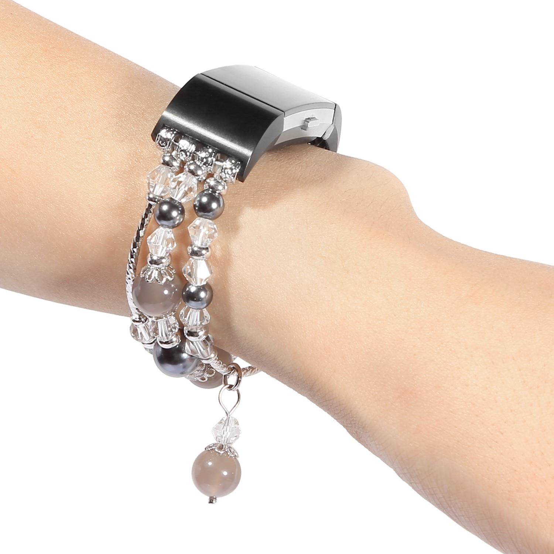 Купить с кэшбэком Women's Jewelry Bracelet for Fitbit Charge 2 Band Agate Stretch Wrist Strap for Fitbit Charge 2 Watch Band Gray Pink White Belt