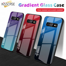 KISSCASE Tempered Glass Case For Samsung S10 Plus 10E S9 S8 Plus Cover Colorful Glass Case For Samsung Galaxy S8 Note 9 8 Fundas(China)