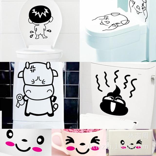 7 unids set pegatinas de inodoro divertidas WC impermeable extraíble Baño de  dibujos animados pegatina 8c72fe2a9da0