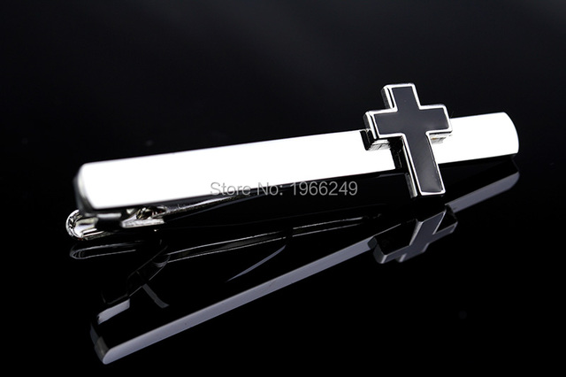 Mms Tie Clips Cufflinks Black Color Novelty Cross Design High Alloy Jewelry